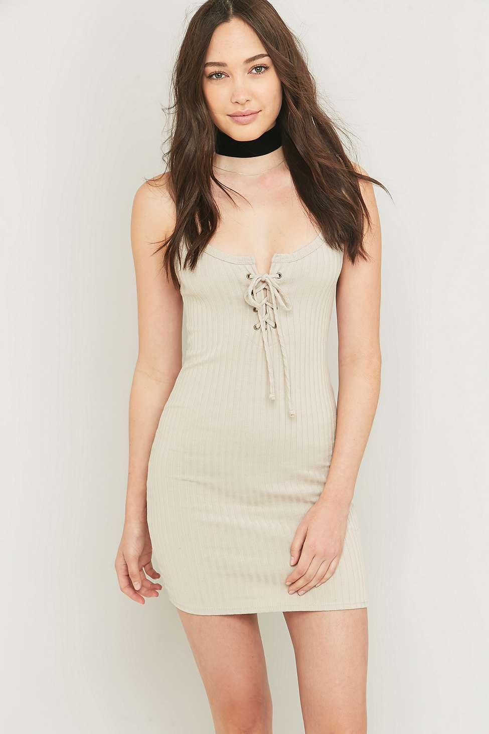 Tie-Front Ribbed Slip Dress
