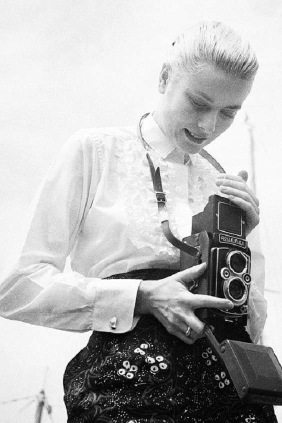 girl with camera photo black and white photography 44 Grace Kelly
