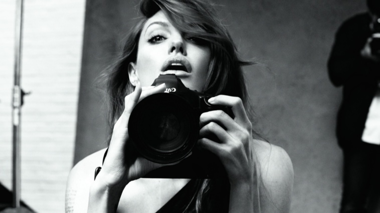 girl with camera photo black and white photography 46.1 angelina_jolie