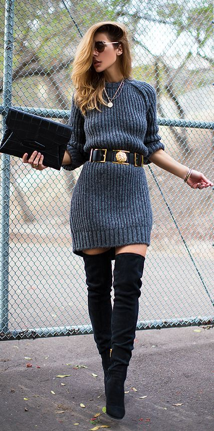 Autumn Winter wardrobe long knee size boots with grey sweater