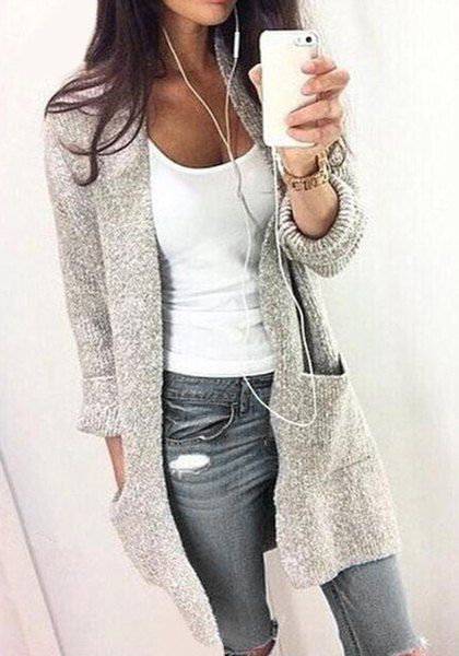 Chic Collarless Long Sleeve Pocket Design Gray Cardigan For Women winter style