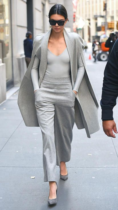 kendall Jenner in a monochrome gray looks