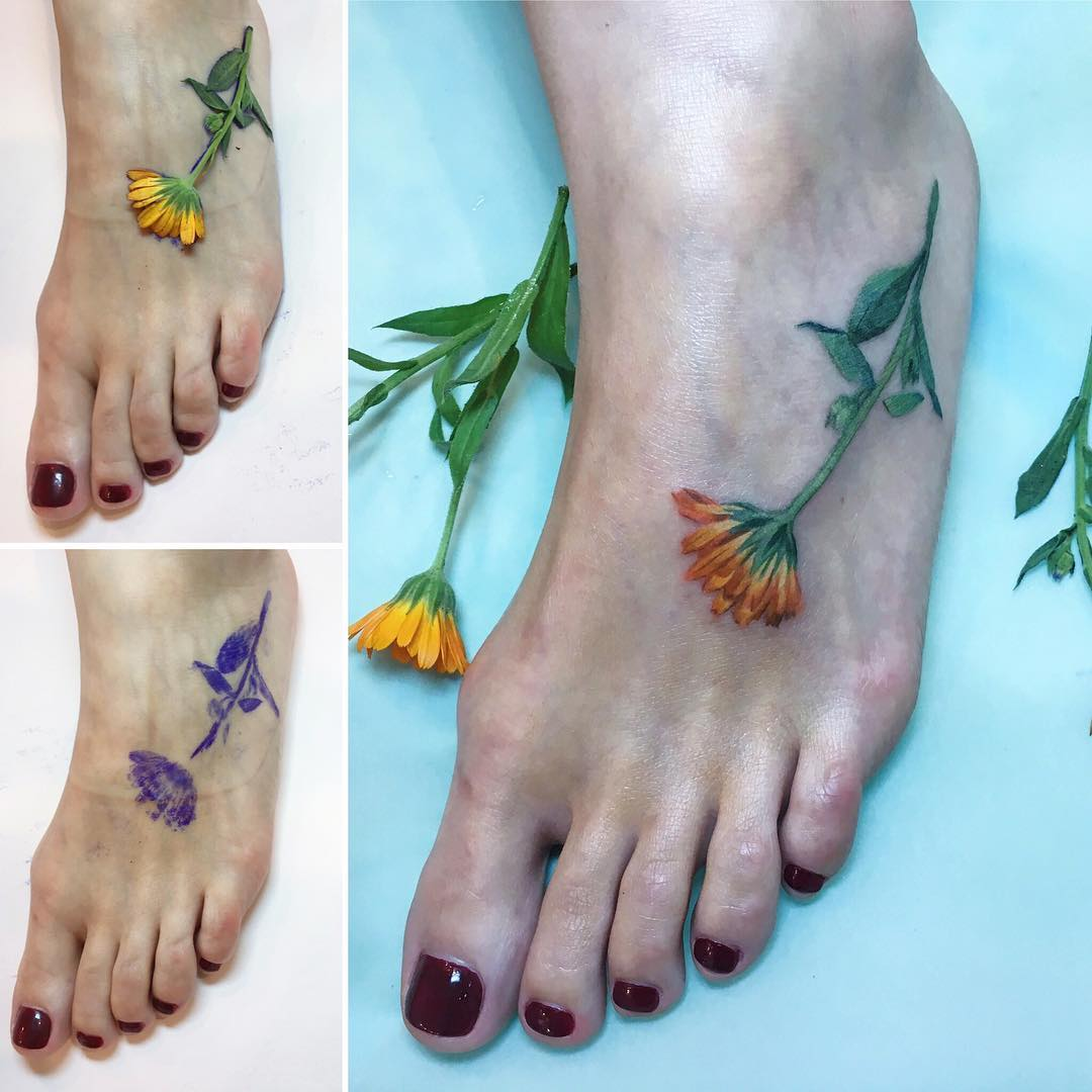 flower tattoo designs foot 74