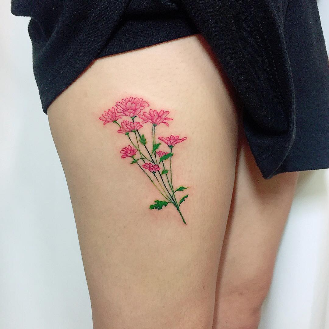 flower tattoo designs leg 61