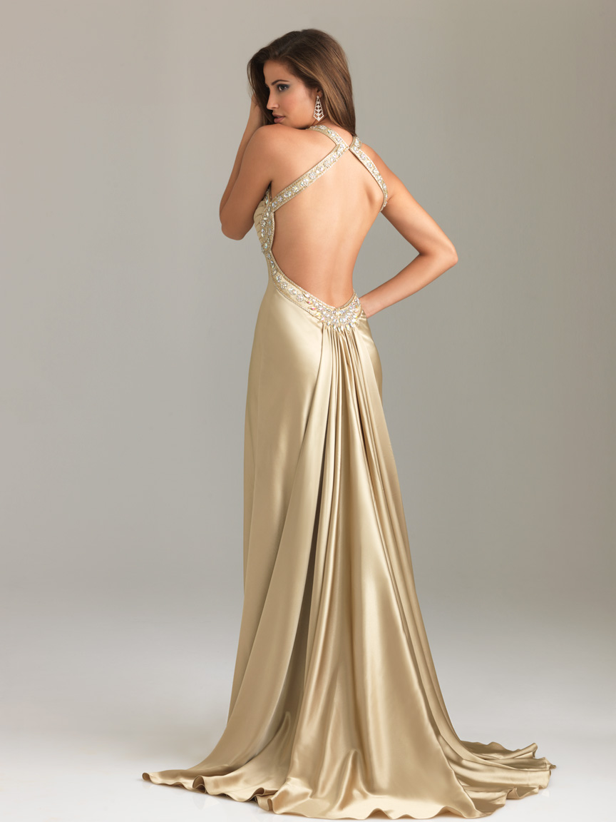 Backless Champagne Party occassion dress 01