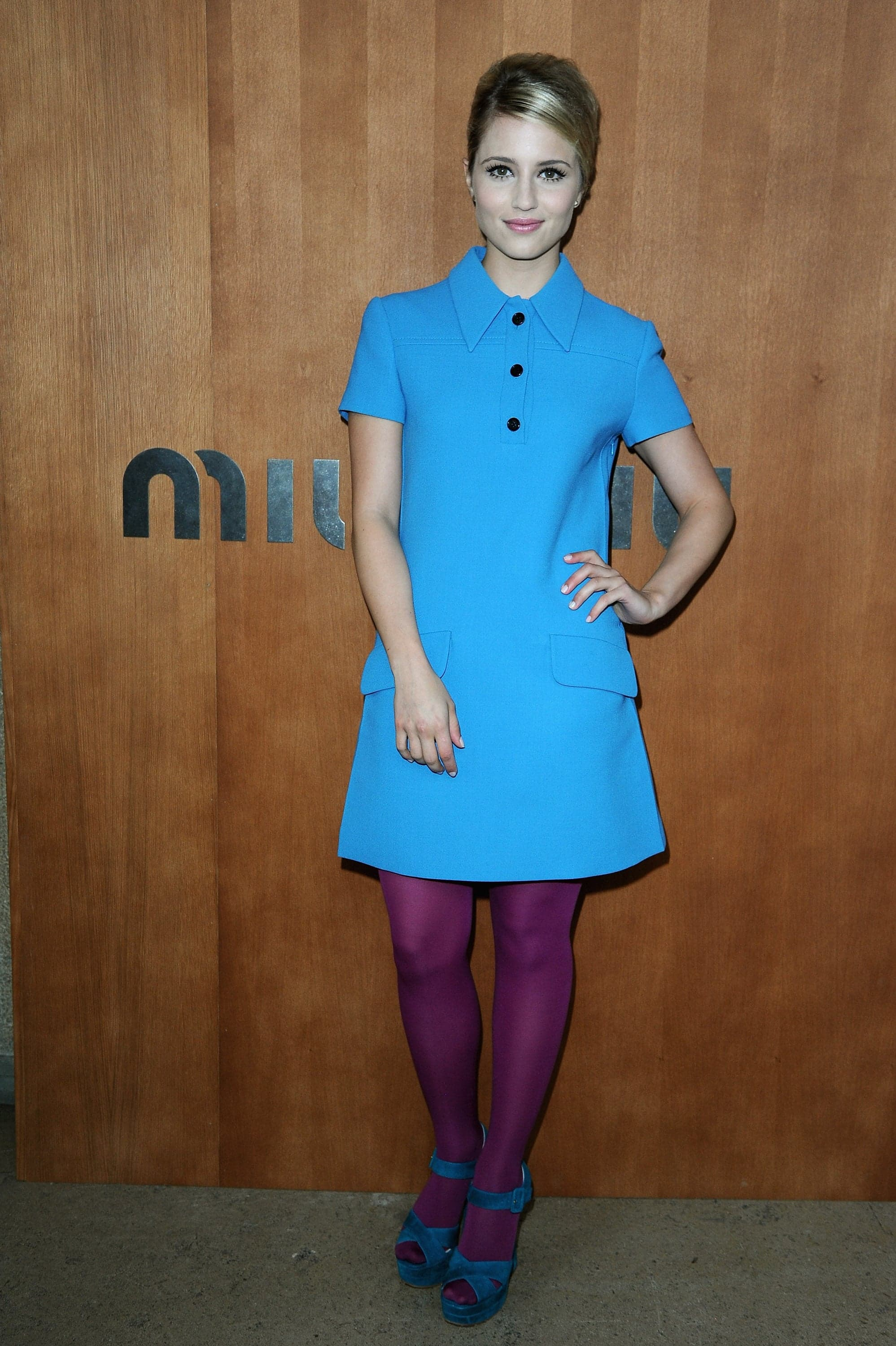 Dianna-Agron-paired-bright-blue-dress-purple-tights