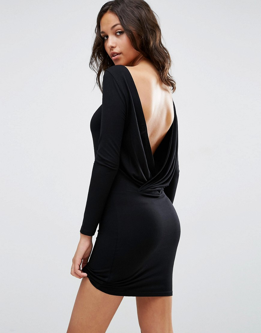 Long Sleeve Wrap Backless Mini Dress