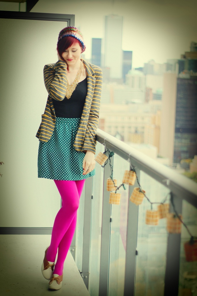 bright pink tights and gree polka dot dress