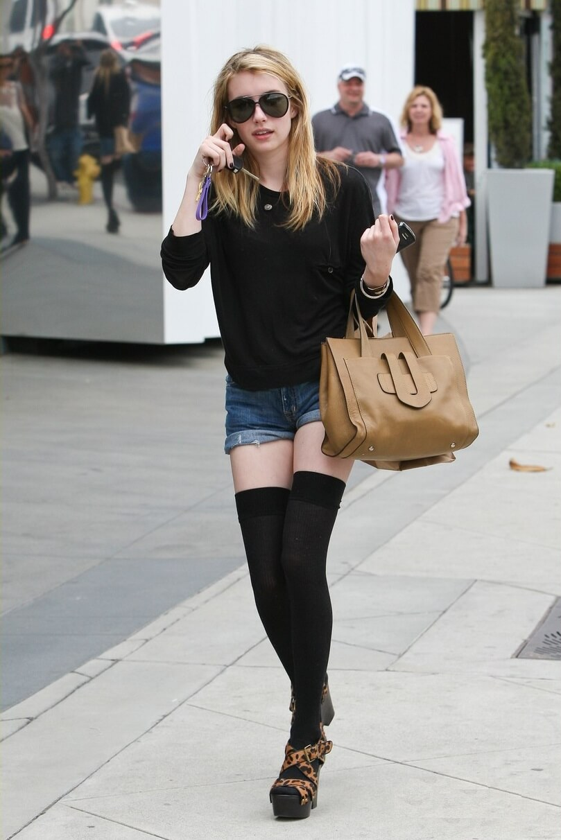 Emma Roberts spotted wearing a short shorts and knee socks