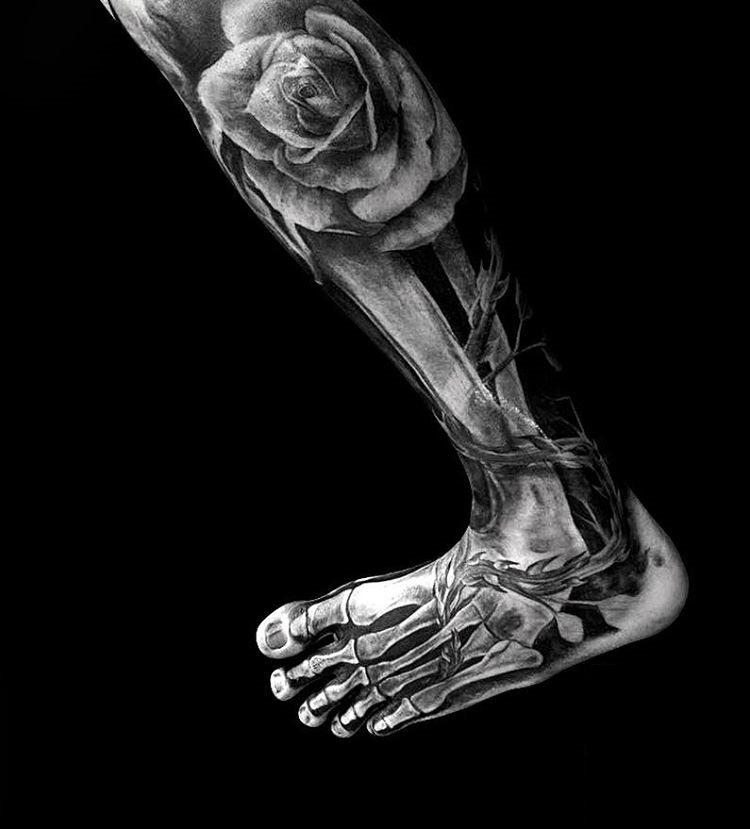 rose-tattoo-best-skeleton-foot-design