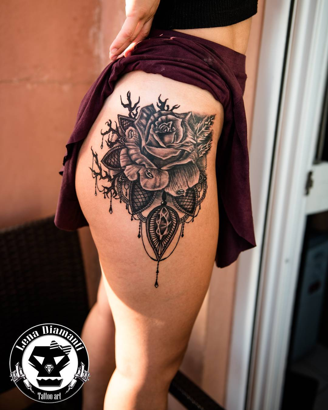Black Ink Rose Tattoo On Girl Right Hip: 75 Best Rose Tattoos For Women And Men To Ink