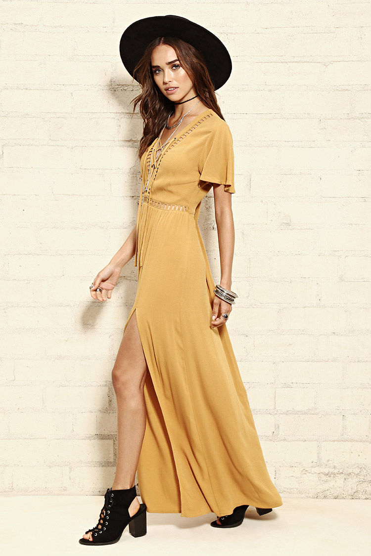 mustard-color-lace-up-maxi-dress