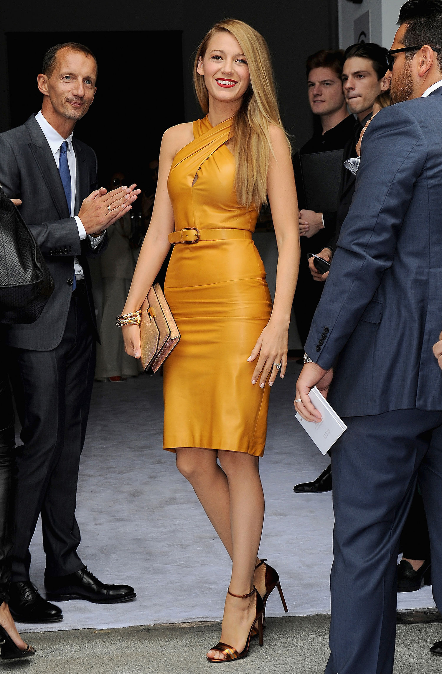 mustard-color-leather-dress-blake-lively-gucci-milan