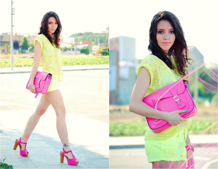 yellow-outfit-with-bright-pink-shoes-and-hand-bag