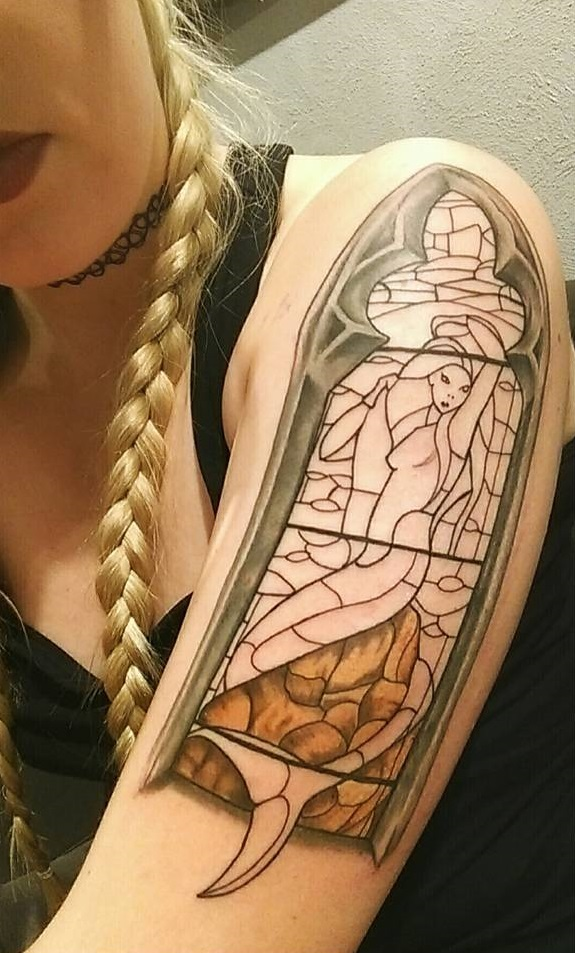 arm-stained-glass-lovely-mermaid-tattoos